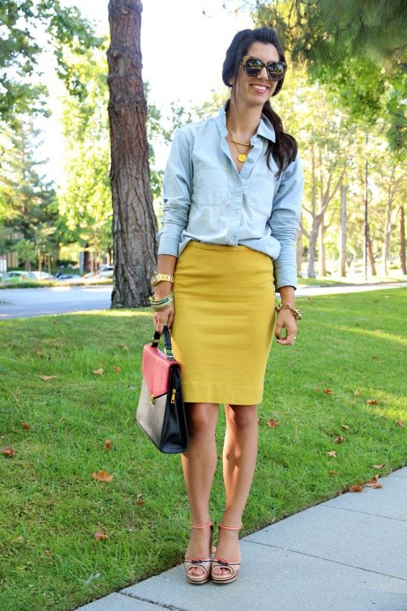 Chambray with a mustard skirt