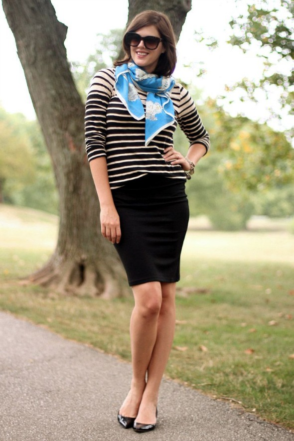 black pencil skirt with stripes