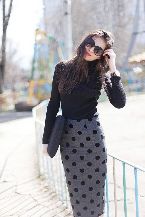 black turtleneck with polka dot skirt