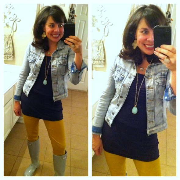 jean jacket with yellow skinnies