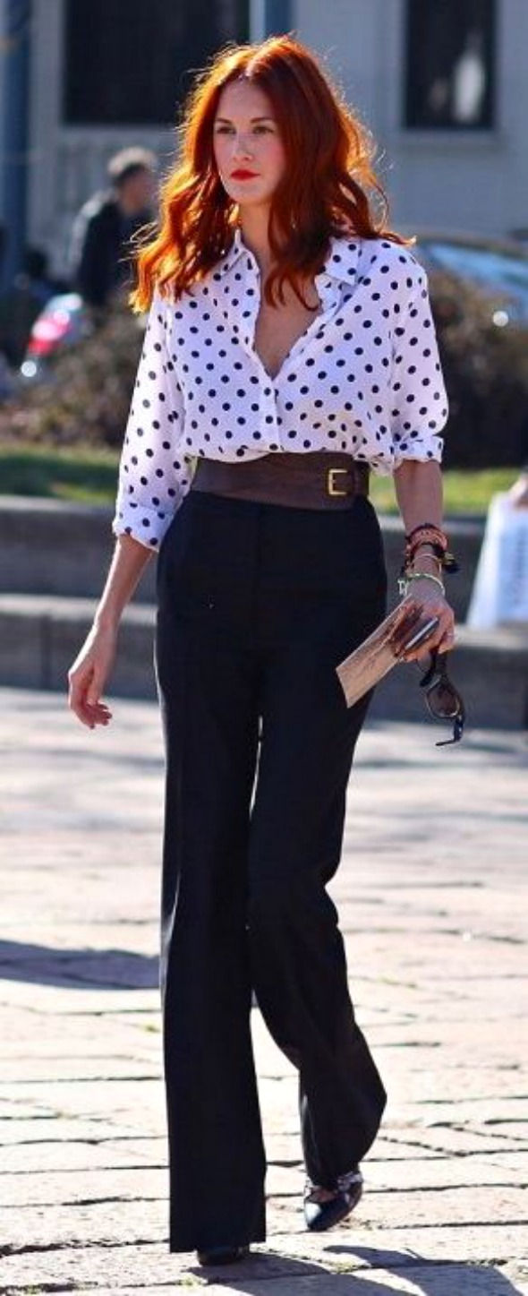 trousers with polka dot blouse