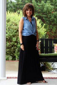 Summer Fashion-Black Maxi with Chambray Shirt
