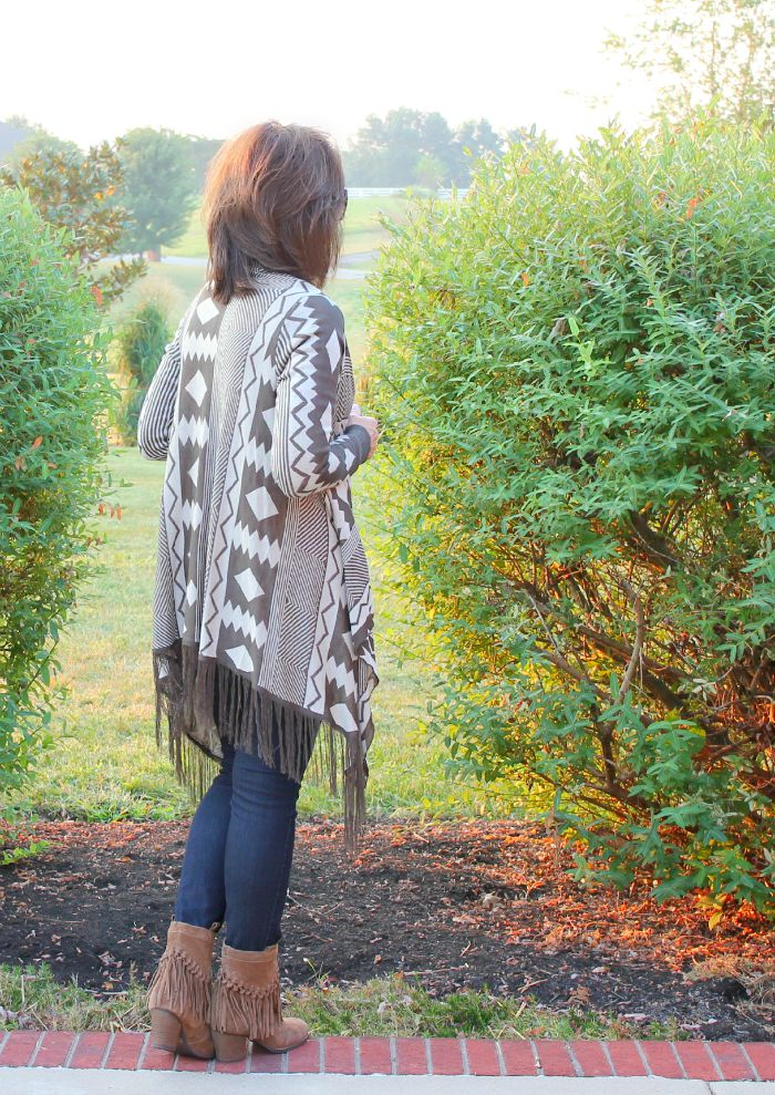 aztec sweater with fringe boots 1