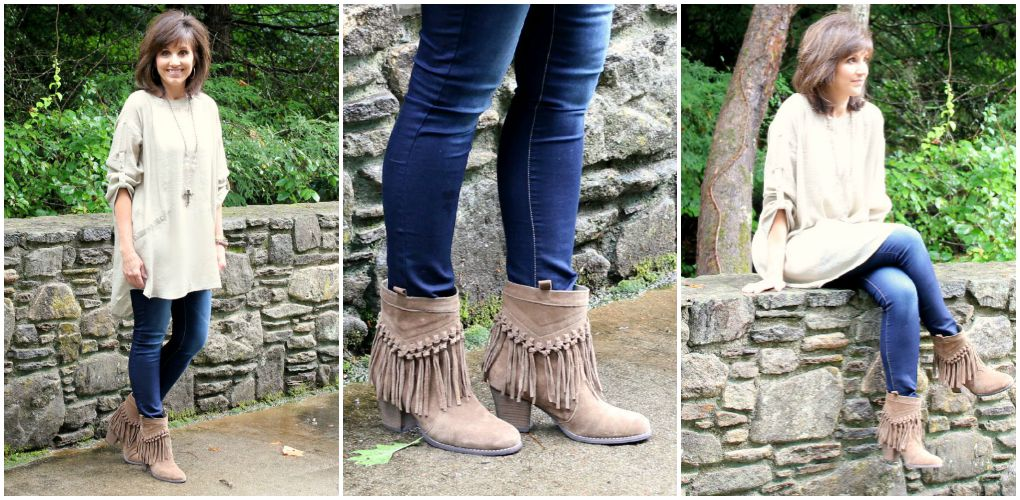 tan tunic with fringe boots