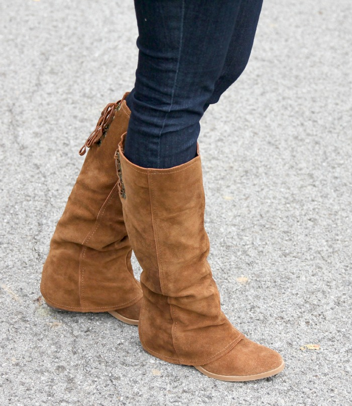 brown boots with lace up back
