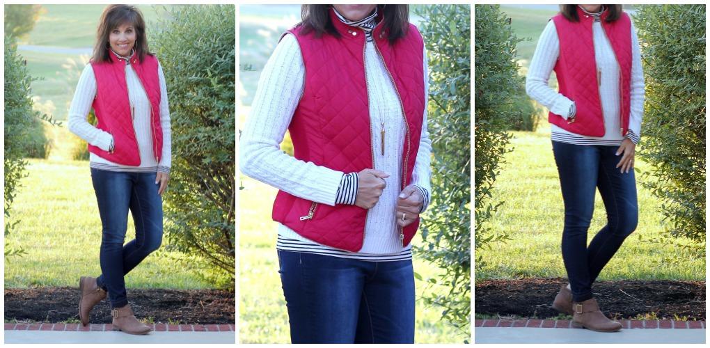 red vest, striped turtleneck