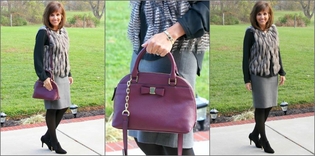 Fur vest with purse