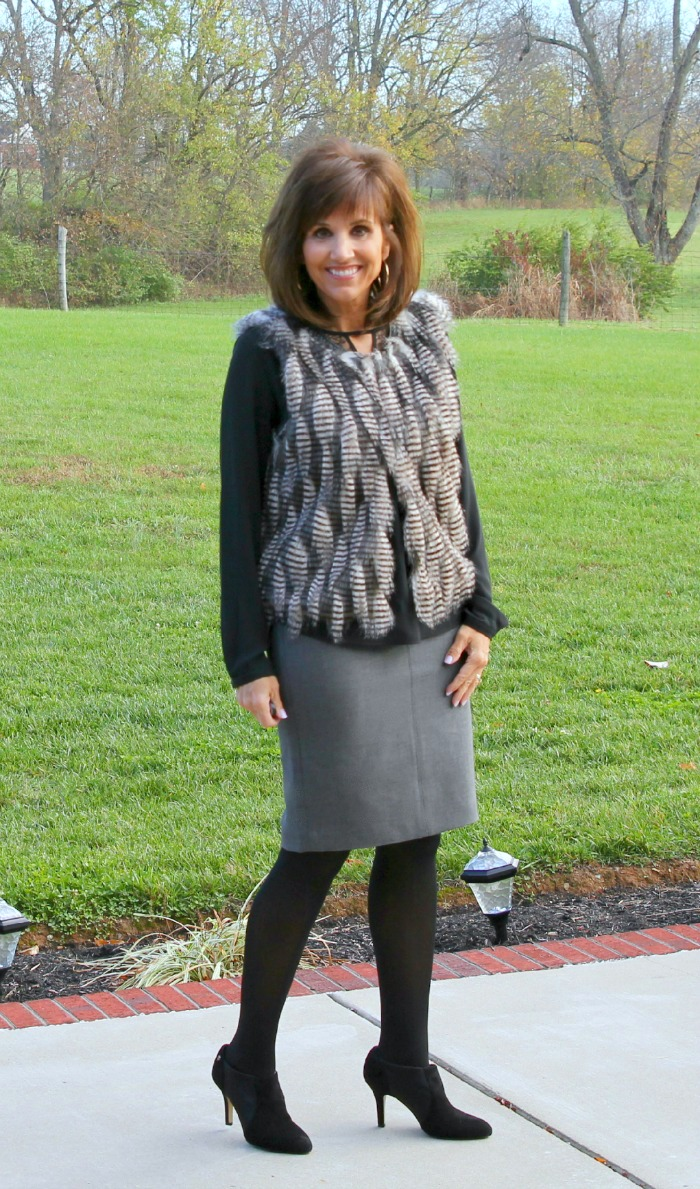 fur vest with gray skirt 12