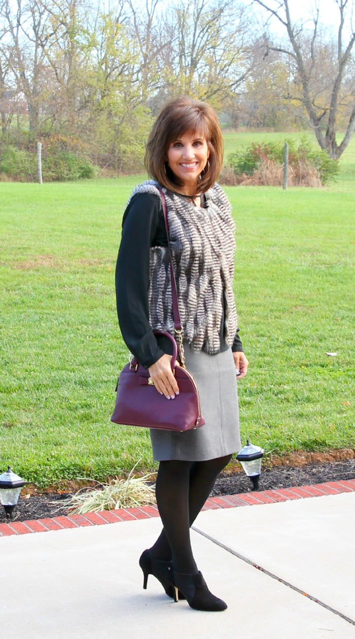 fur vest with gray skirt 2