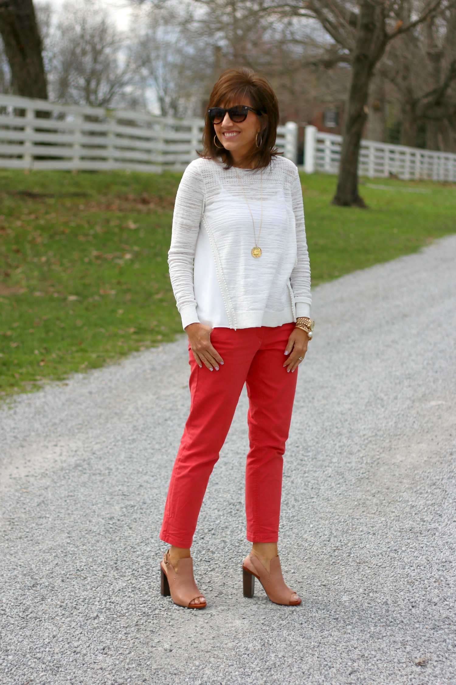 Off white top with coral pants 12