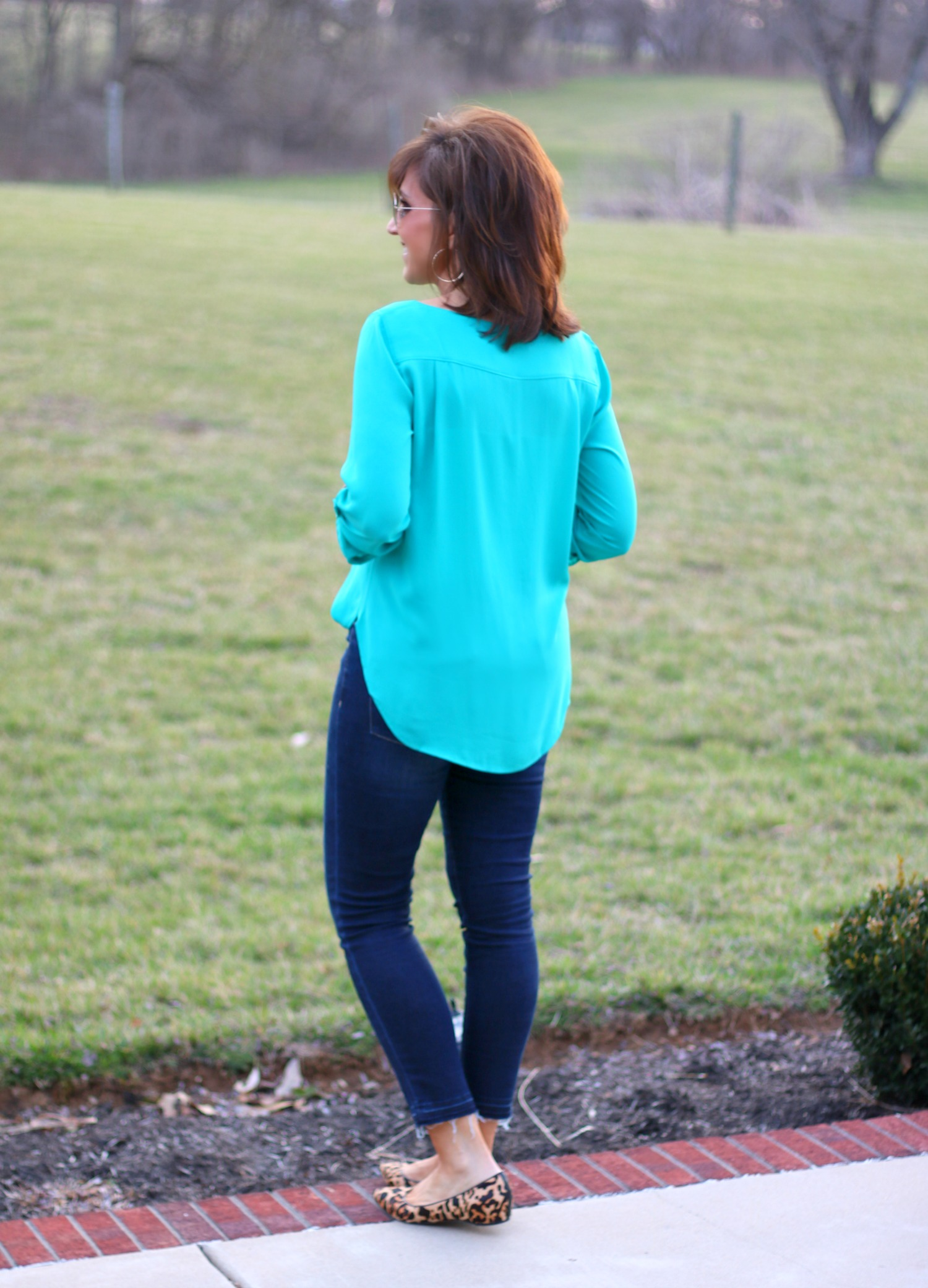 27 Days of Spring Fashion: Green Blouse + Frayed Hem Jeans