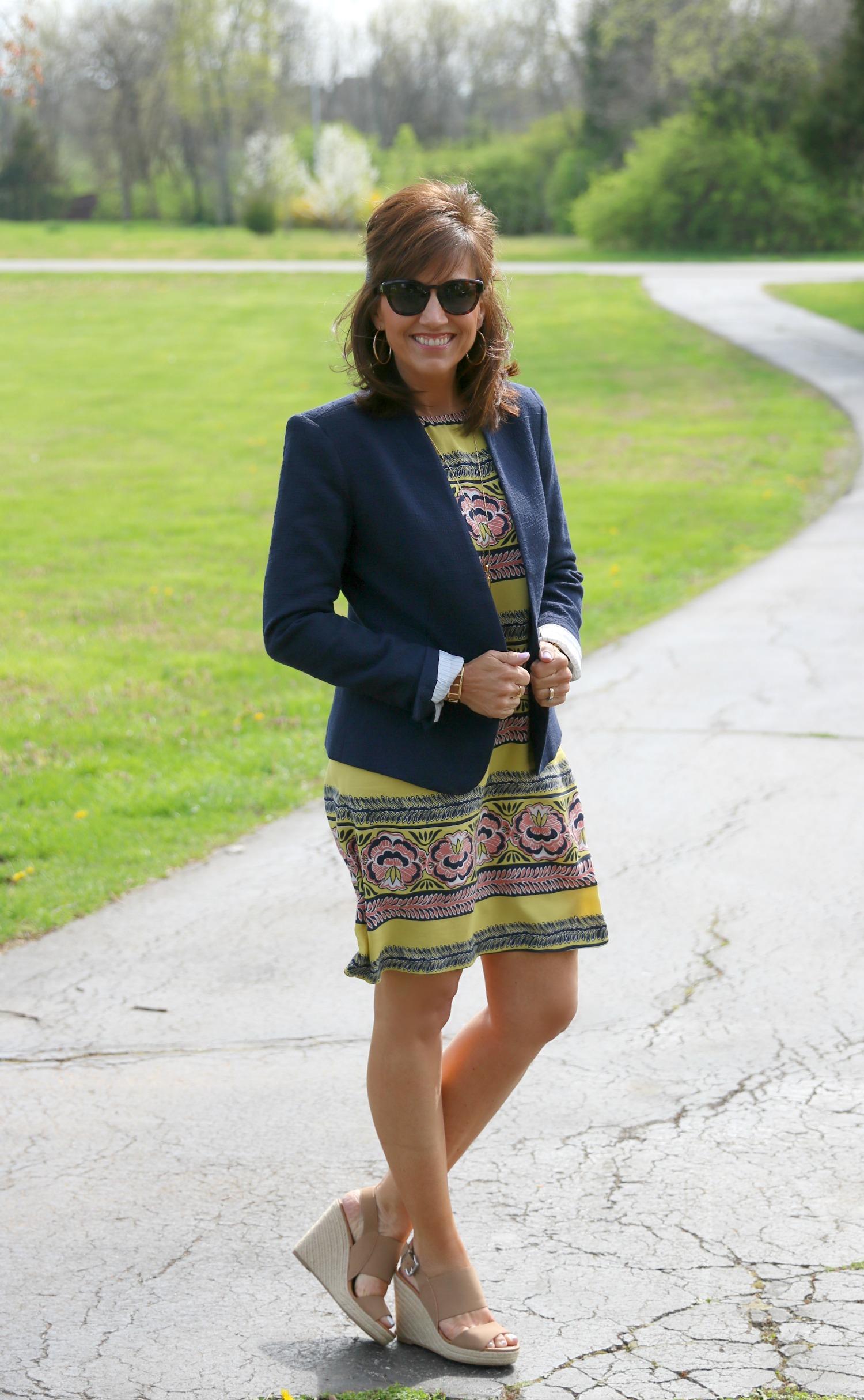 27 Days of Spring Fashion: Shift Dress with Navy Blazer