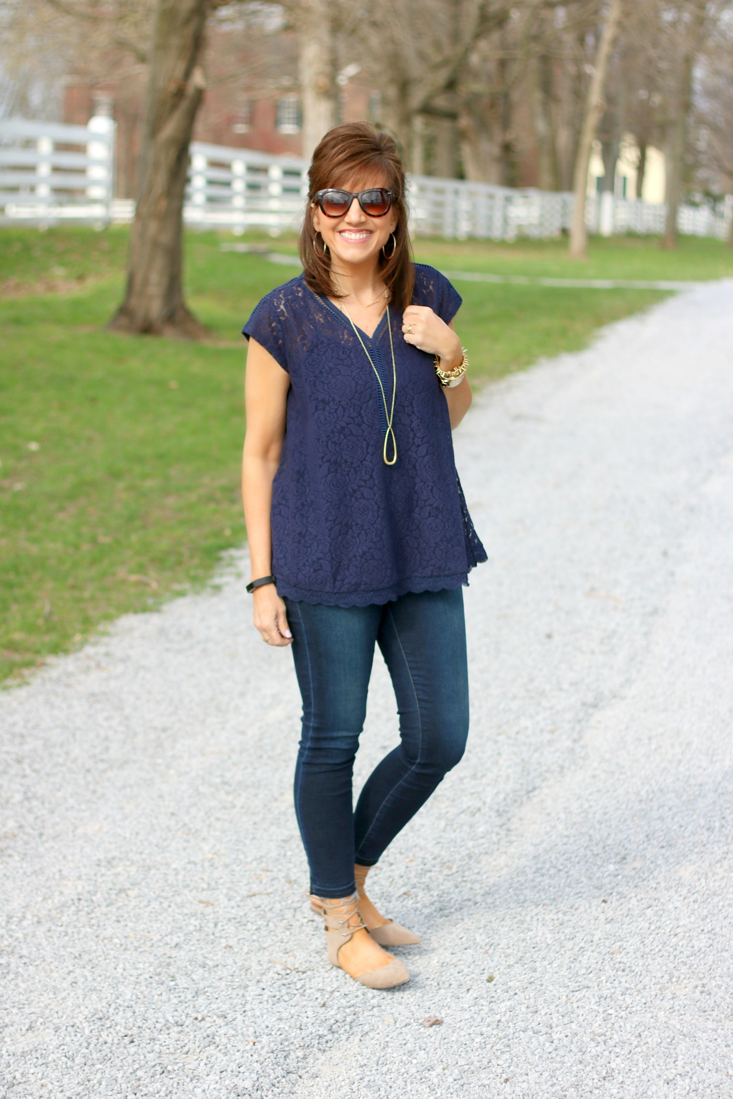 27 Days of Spring Fashion: Navy Lace Top For Spring
