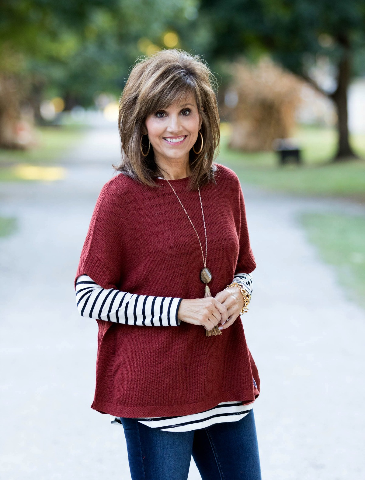 Fall Fashion-Poncho Sweater & Stripe Tee