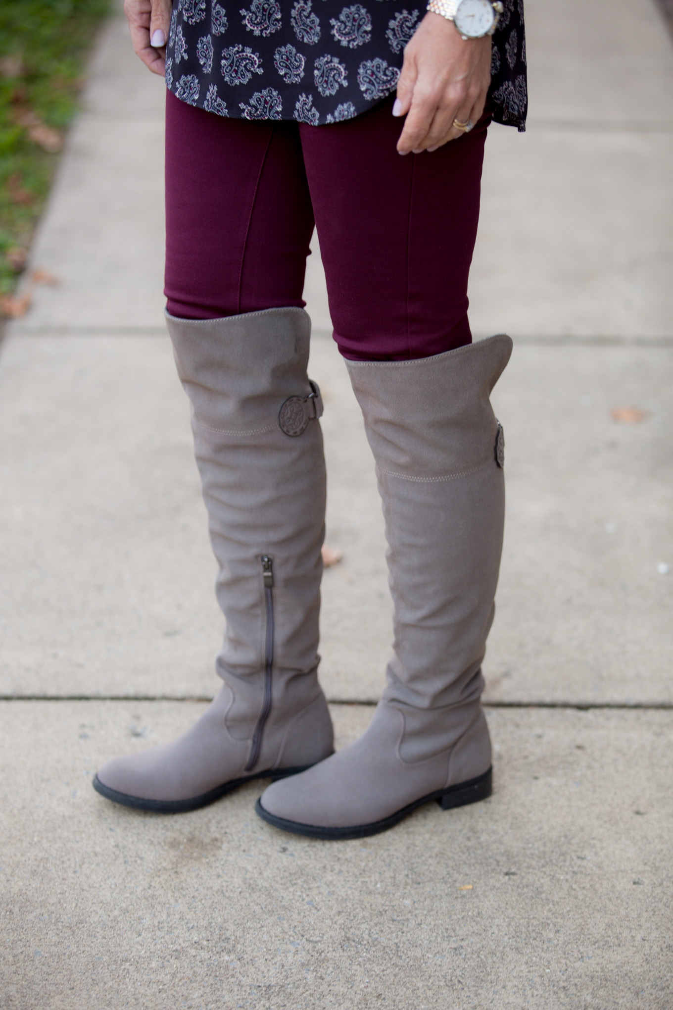 Fashion blogger, Cyndi Spivey, styling two trendy boot styles available at Rack Room Shoes Early Black Friday Sale.