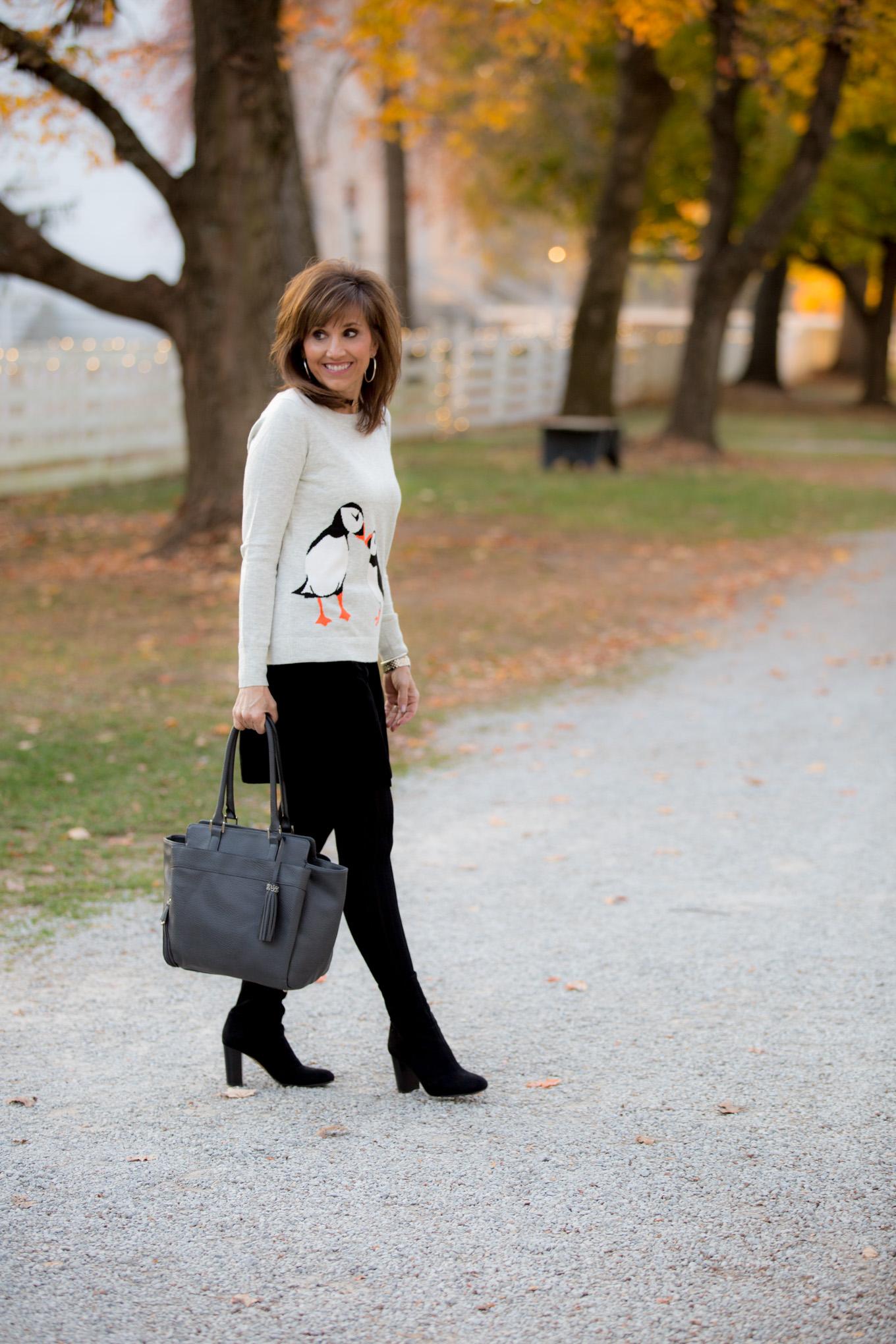 Fashion blogger, Cyndi Spivey, styling a velvet skirt for winter fashion.