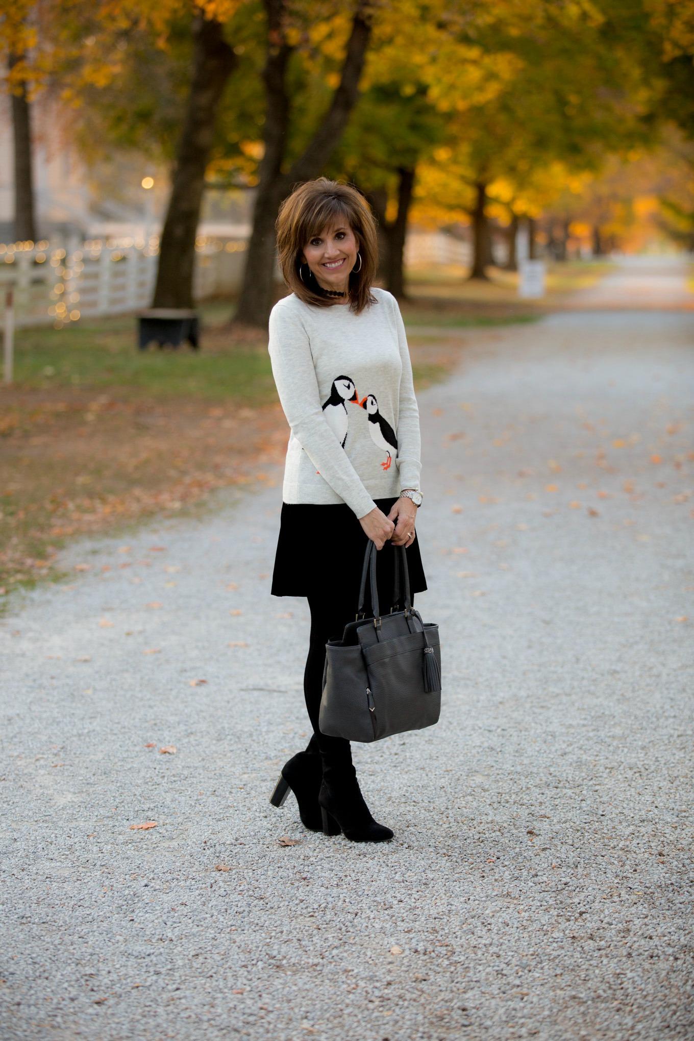 Fashion blogger, Cyndi Spivey, styling a velvet skirt from Loft.