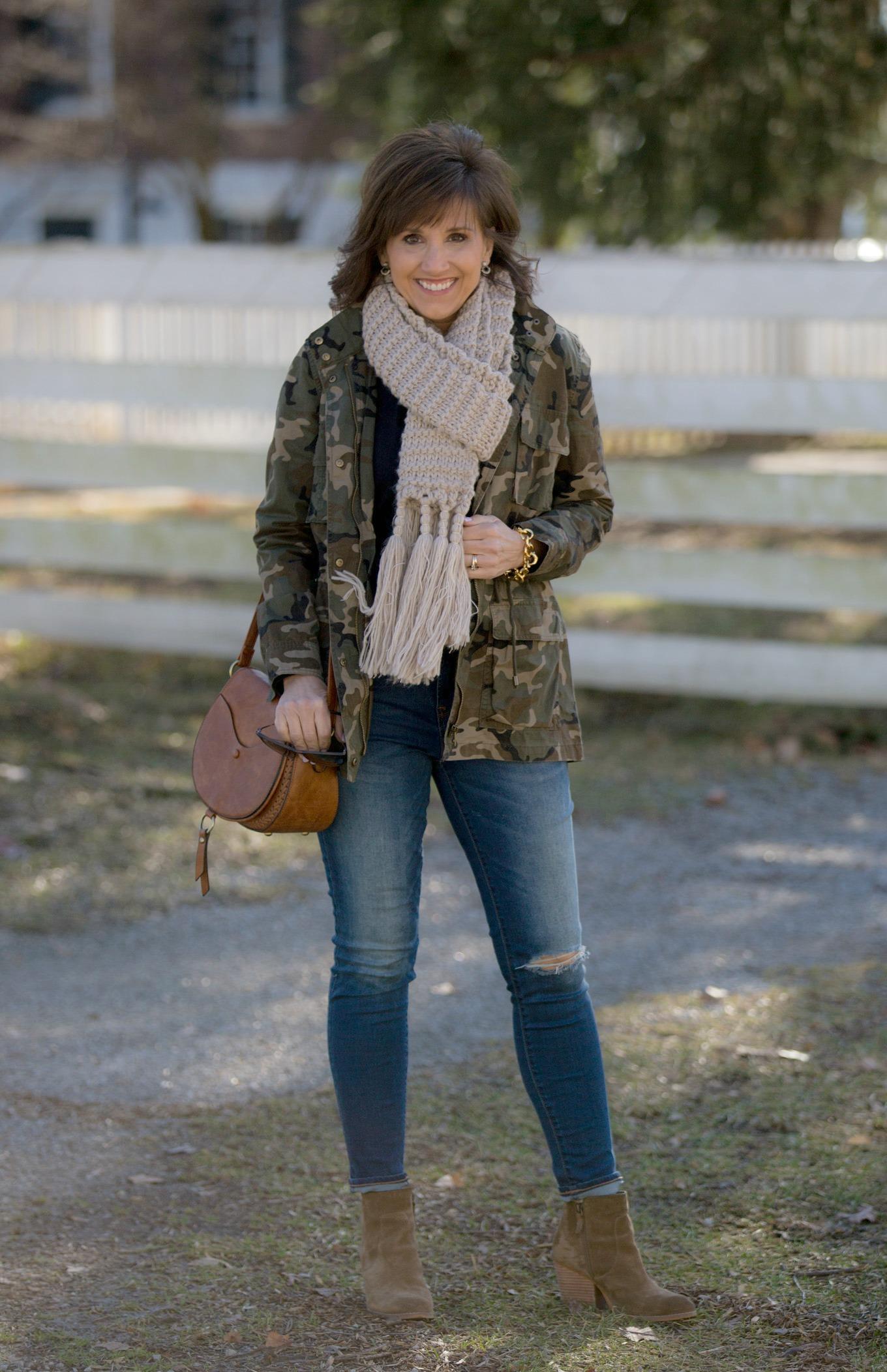 Fashion blogger, Cyndi Spivey, styling a camo jacket.