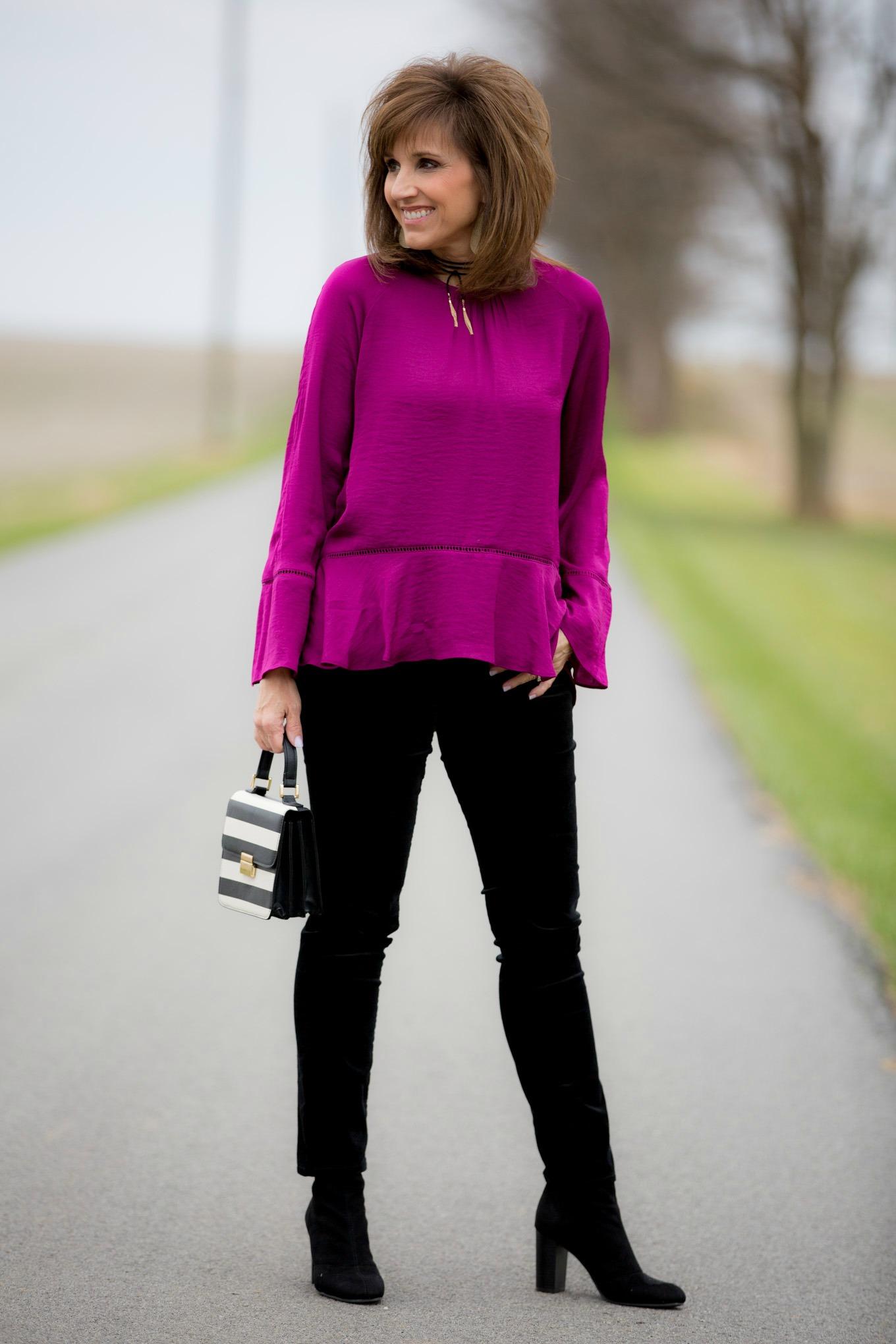 Fashion blogger, Cyndi Spivey, styling a budget friendly holiday outfit.