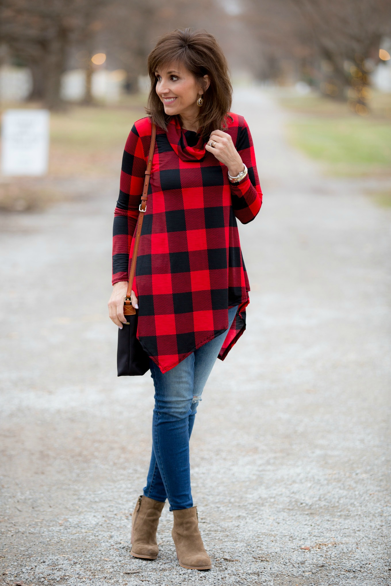 Fashion blogger, Cyndi Spivey, styling a buffalo check tunic from Glamour Farms.