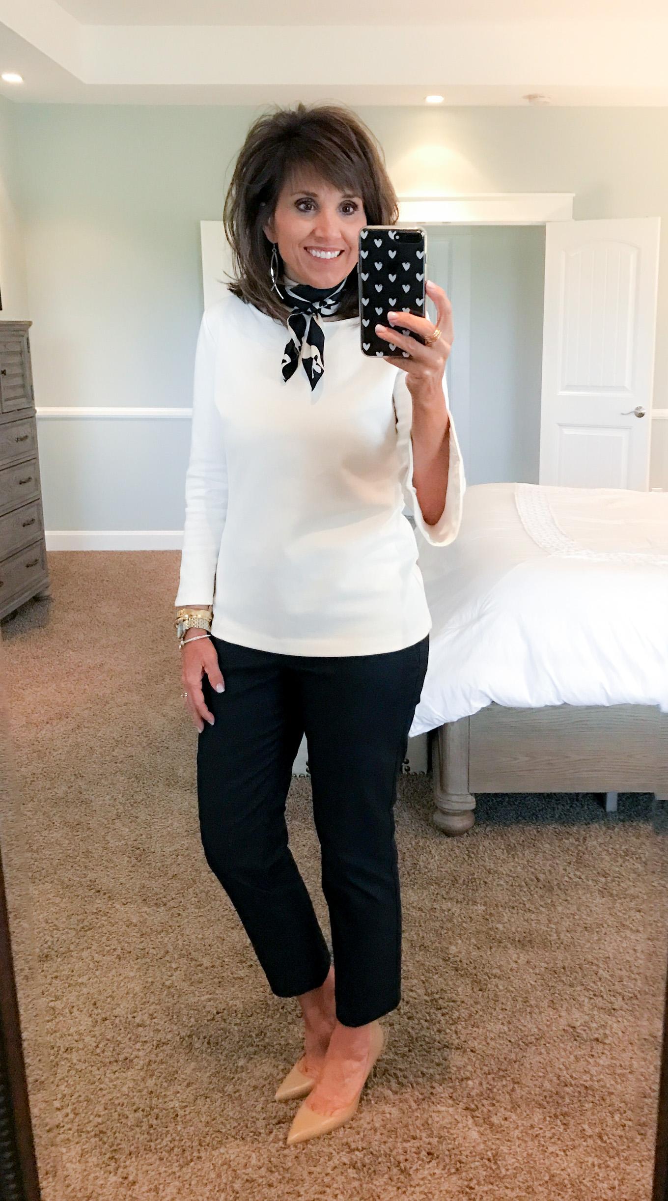 Fashion blogger, Cyndi Spivey, styling a a silk neck scarf.