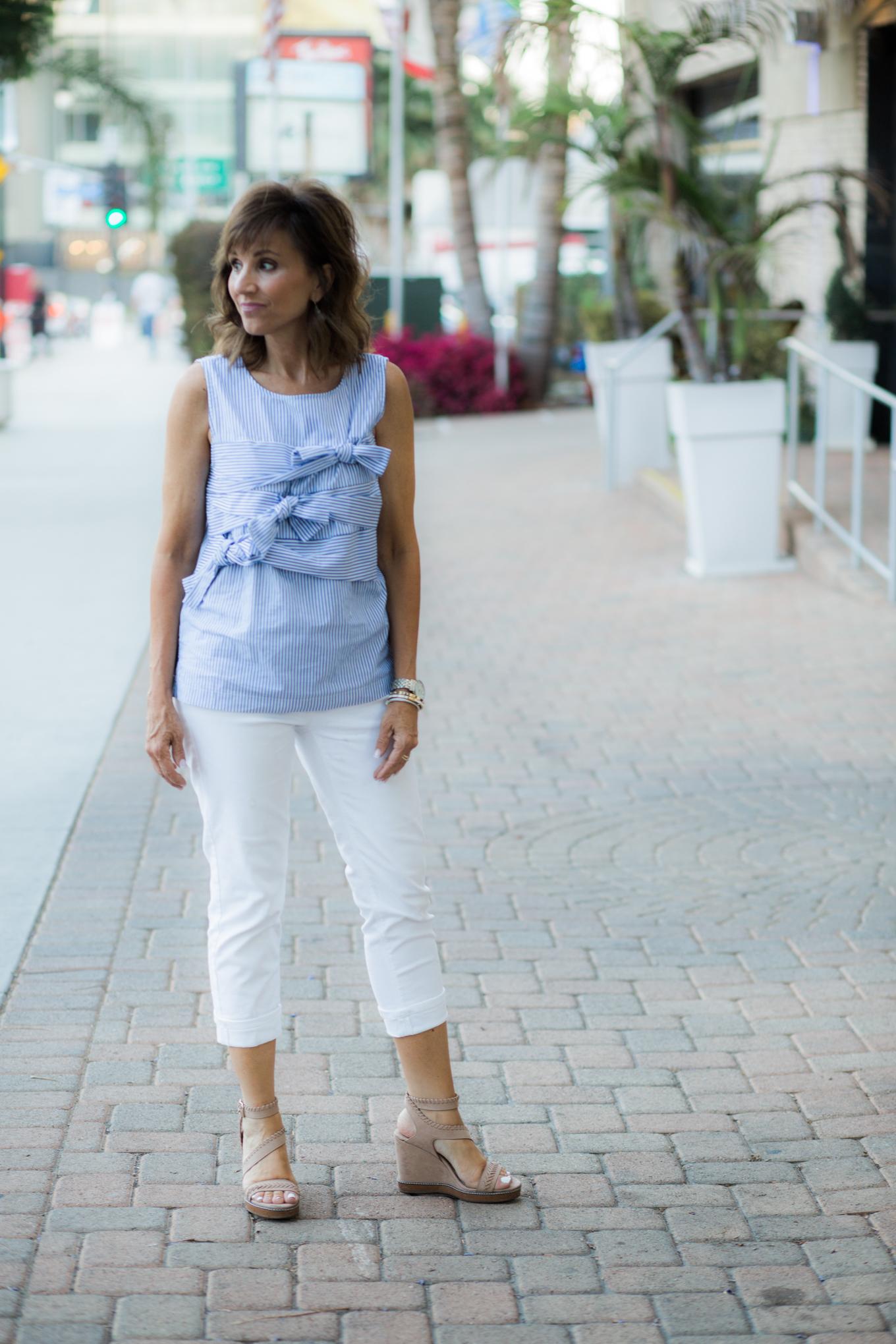Pin Stripe Top + White Jeans