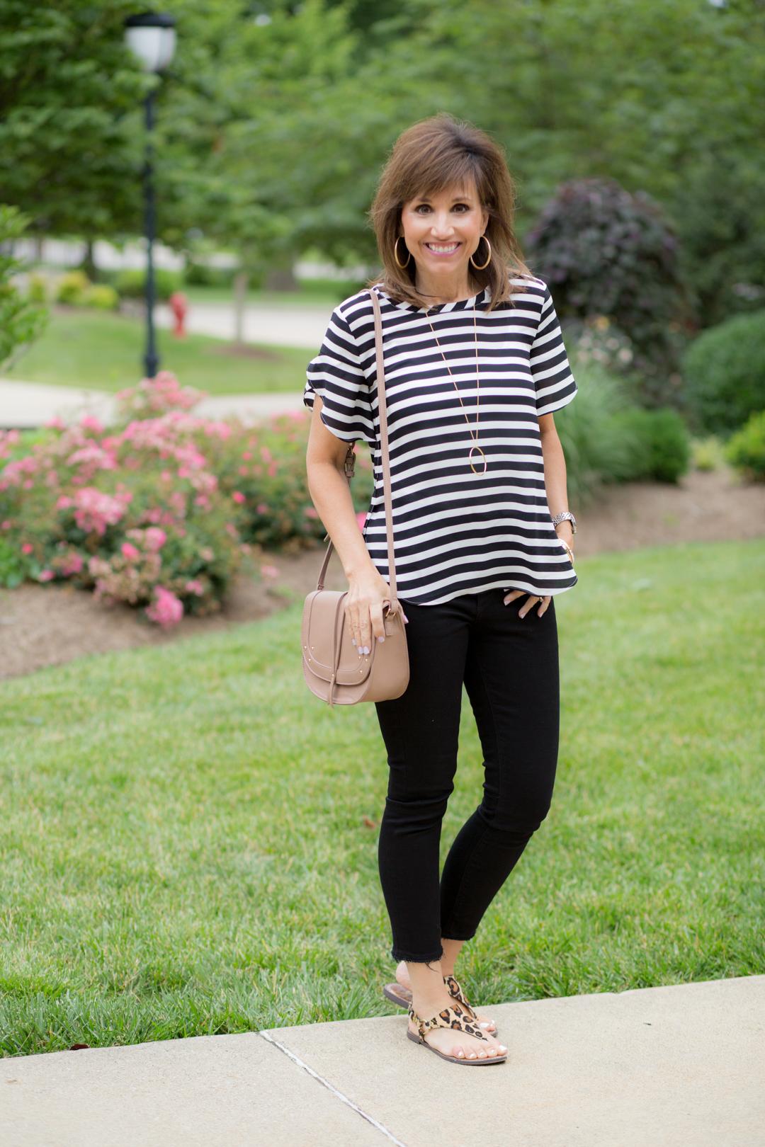 Stripe top + Black Jeans
