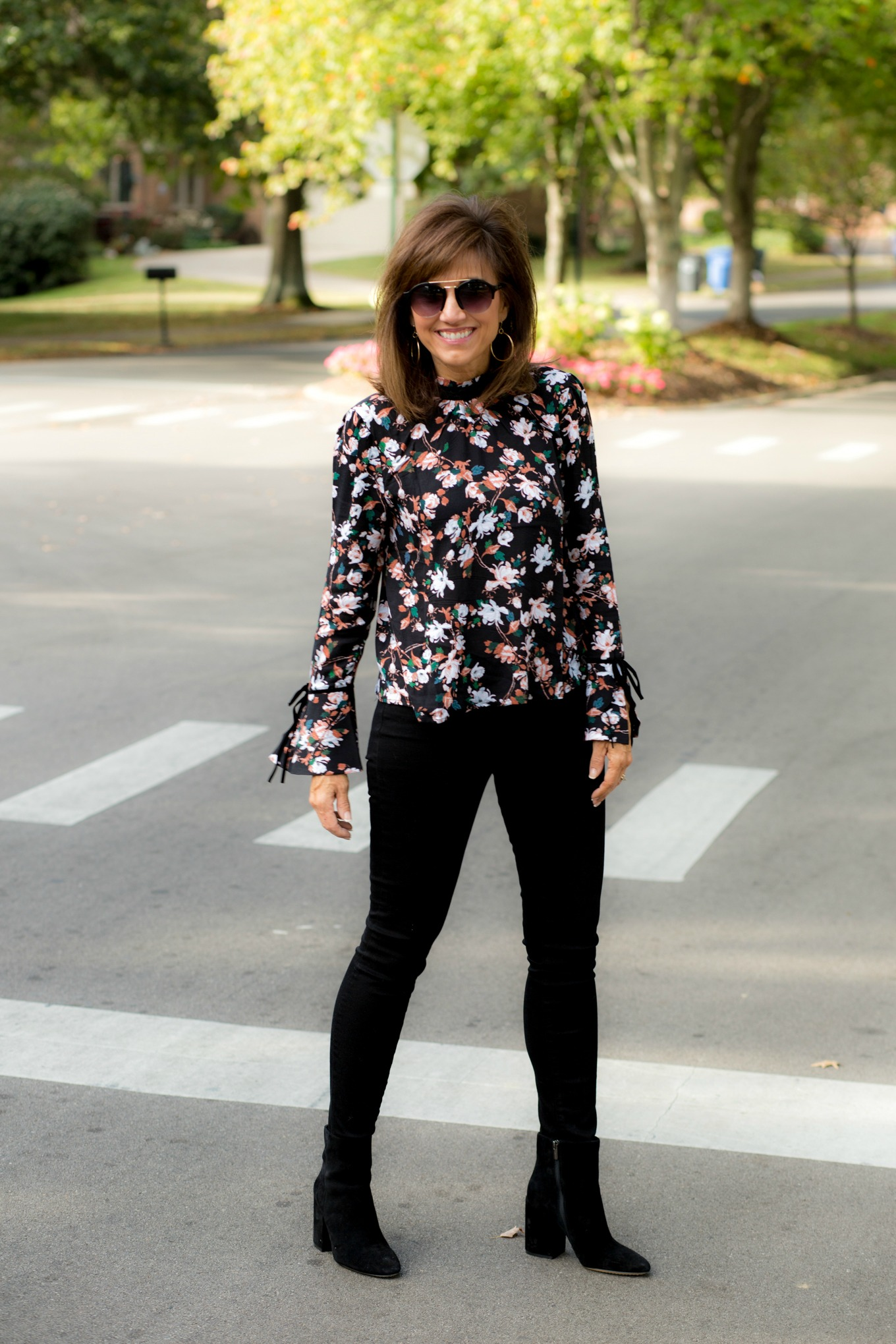 Floral Blouse + Black Jeans