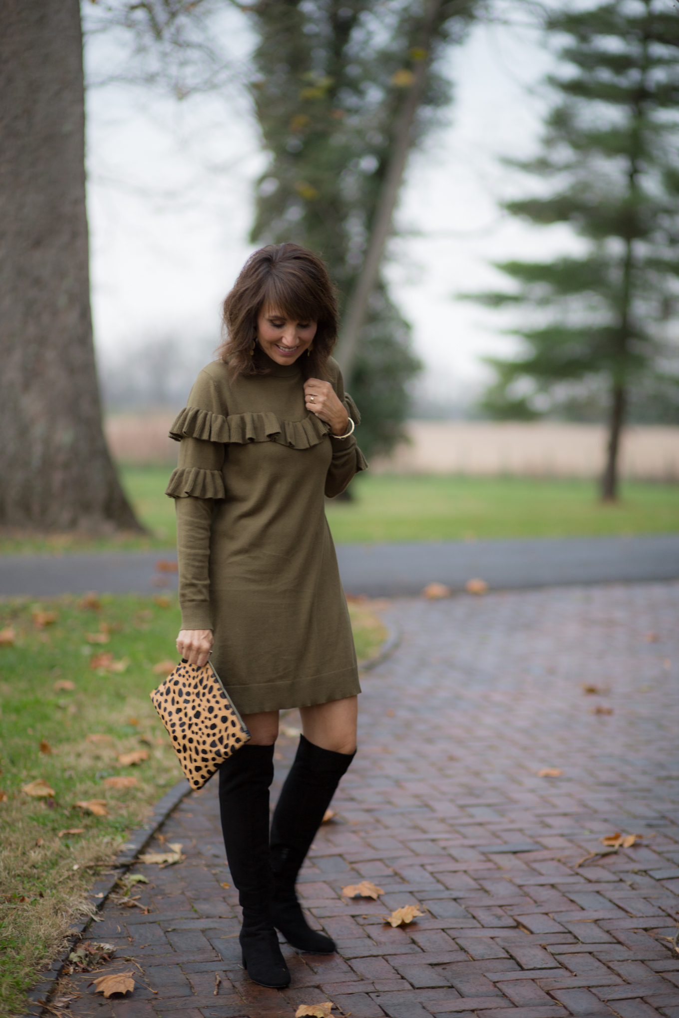 25 Days of Winter Fashion: Ruffle Dress + Over The Knee Boots
