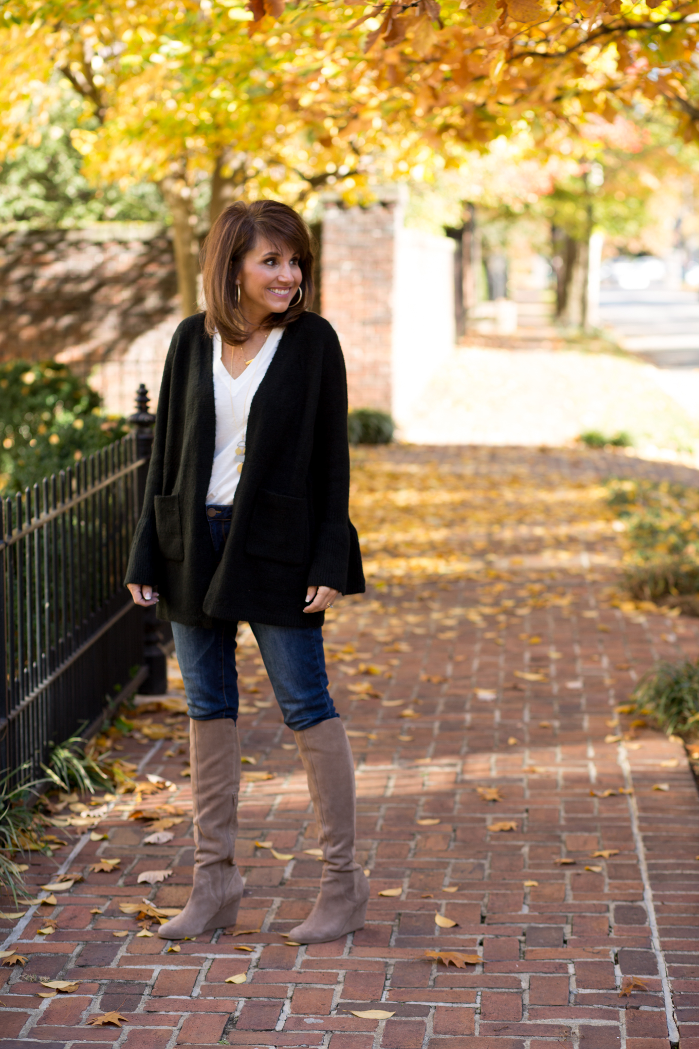 25 Days of Winter Fashion: Bell Sleeve Cardigan + Wedge Boot