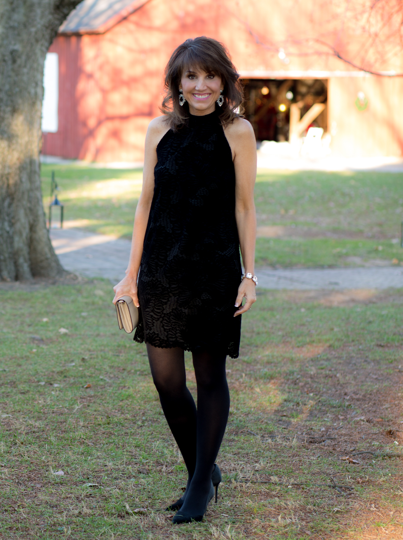 25 Days of Winter Fashion: Black Lace Dress for New Year's Eve