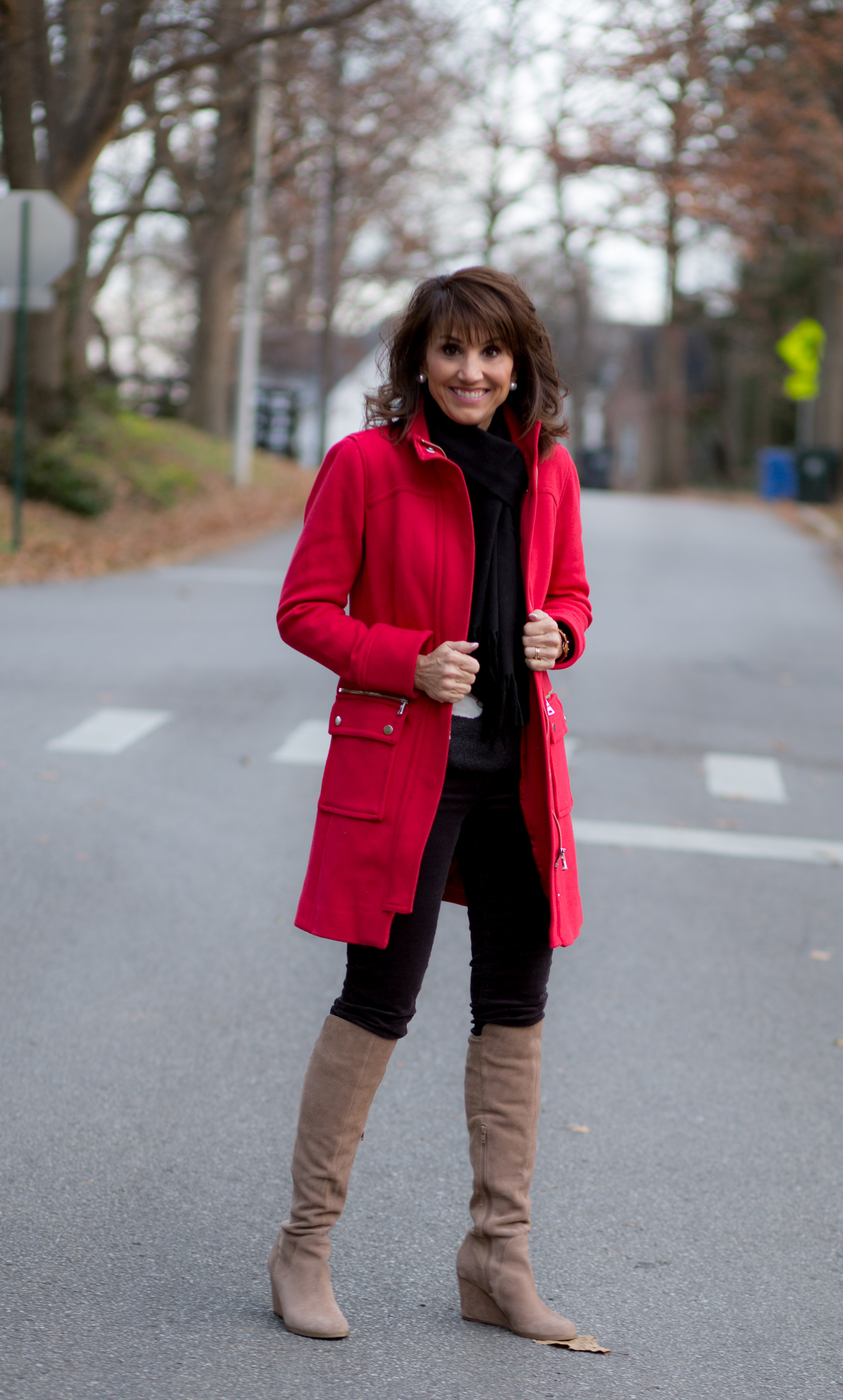 25 Days of Winter Fashion: Reindeer Sweater + Corduroy Pants + Red Coat