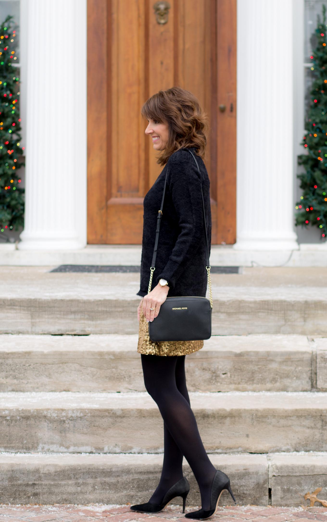 25 Days of Winter Fashion: Gold Sequin Skirt under $50