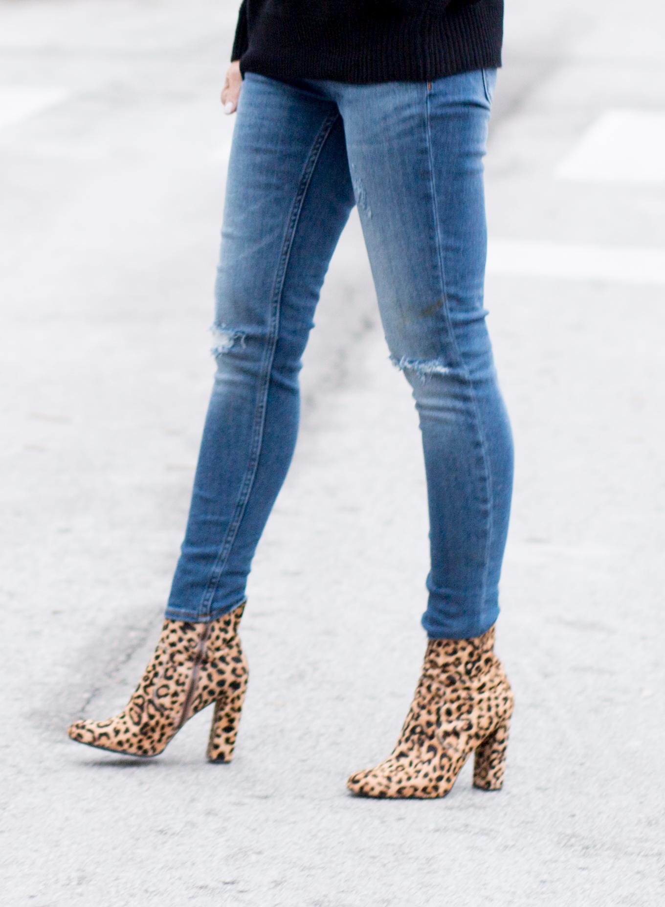 Pom Pom Sweater + Leopard Boots