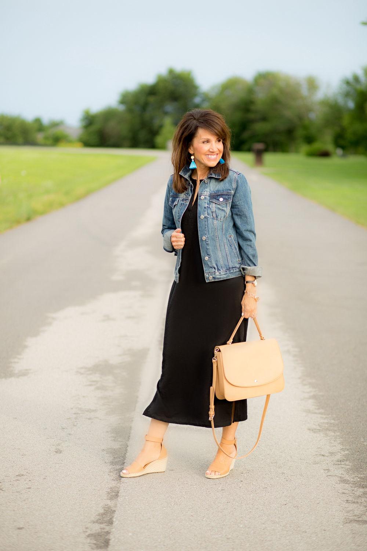 Black Maxi Dress and Denim Jacket