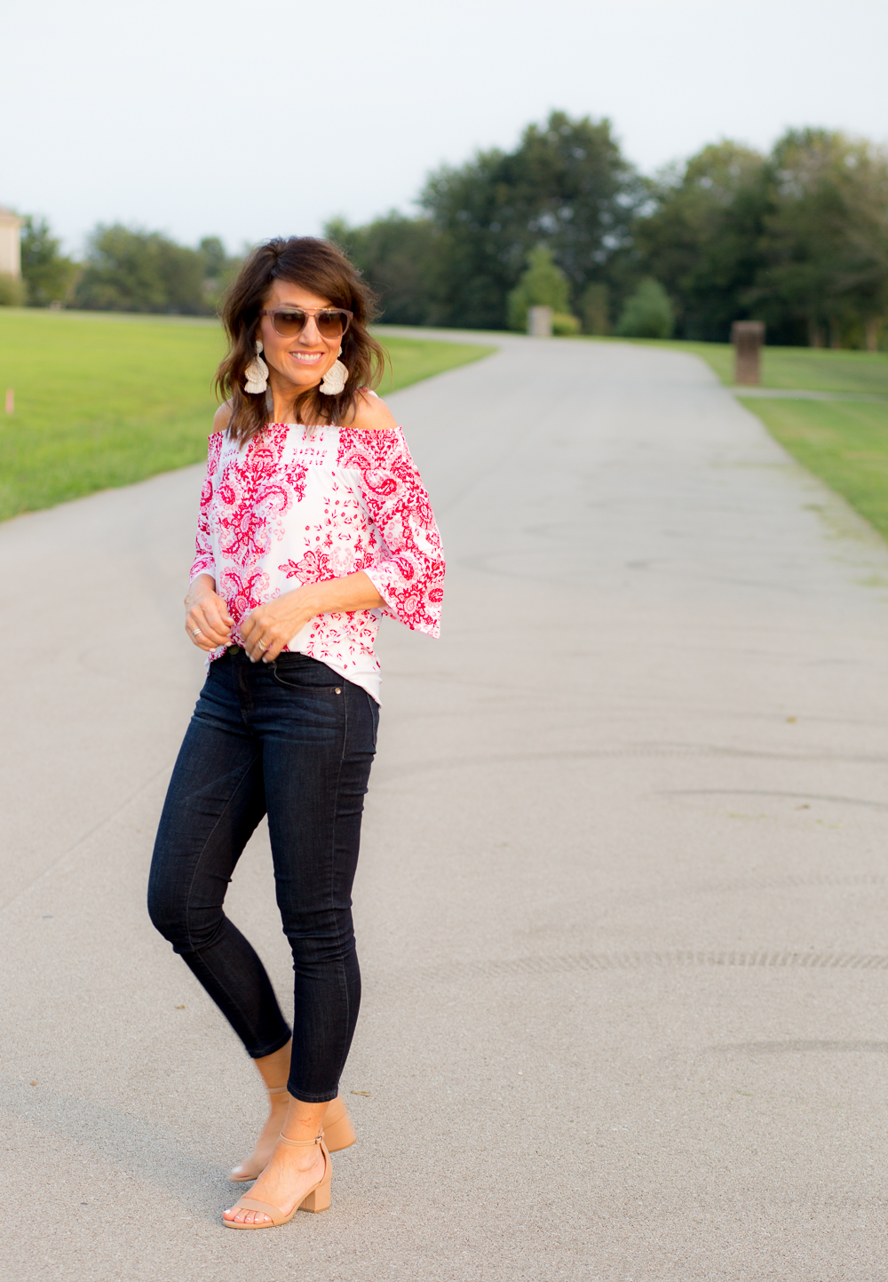Date Night Outfit-Red Paisley Top from Macy's