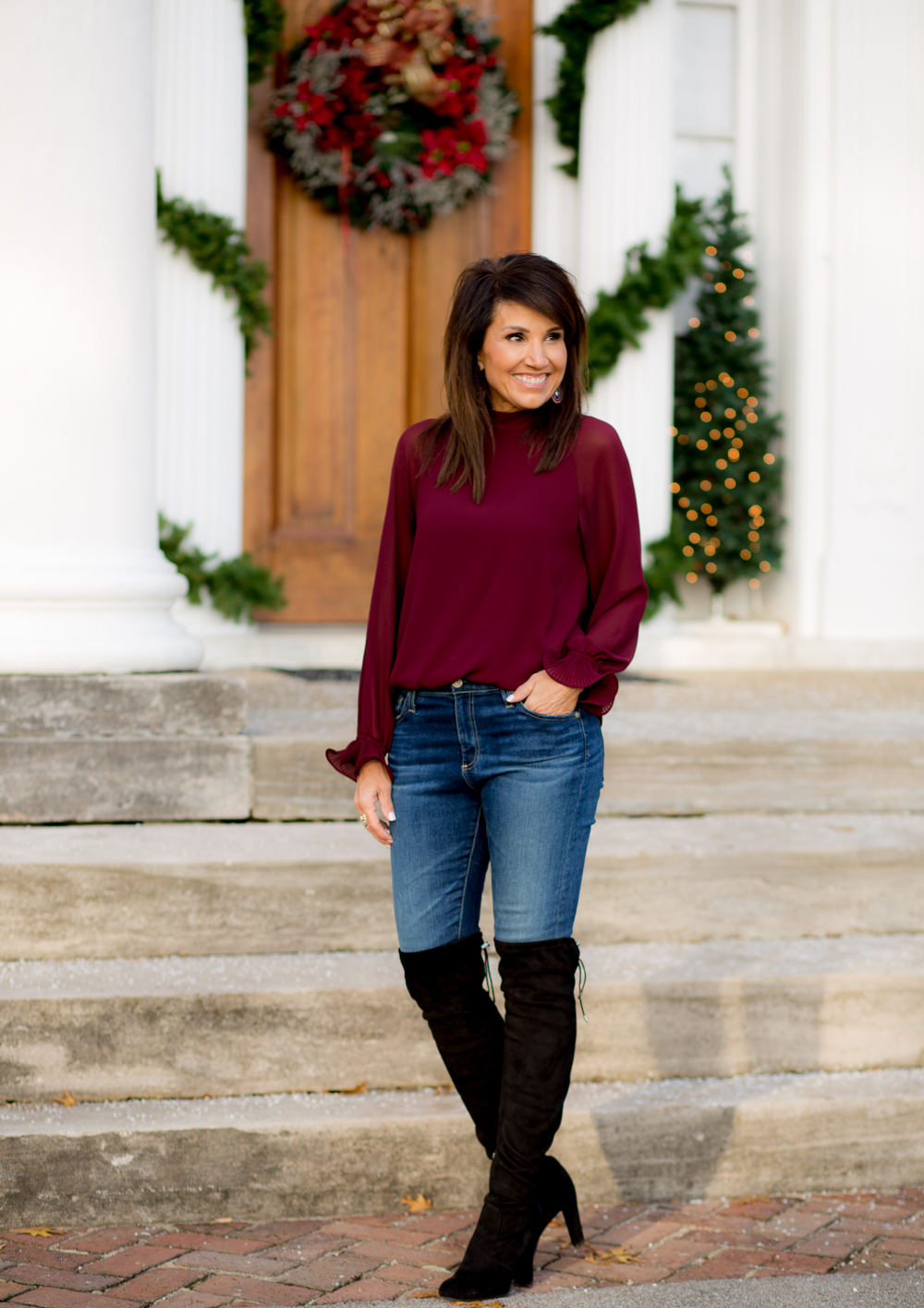 Burgundy Bell Sleeve Blouse-Holiday Fashion