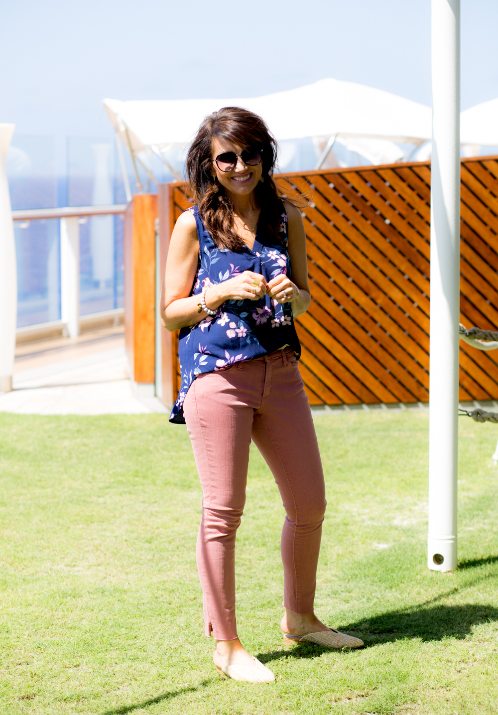 Floral Blouse with Pink Jeans