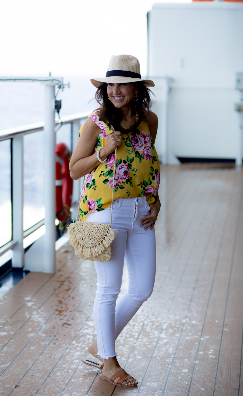 Floral Blouse with White Jeans