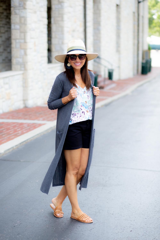 Floral Sleeveless Blouse + Black Shorts