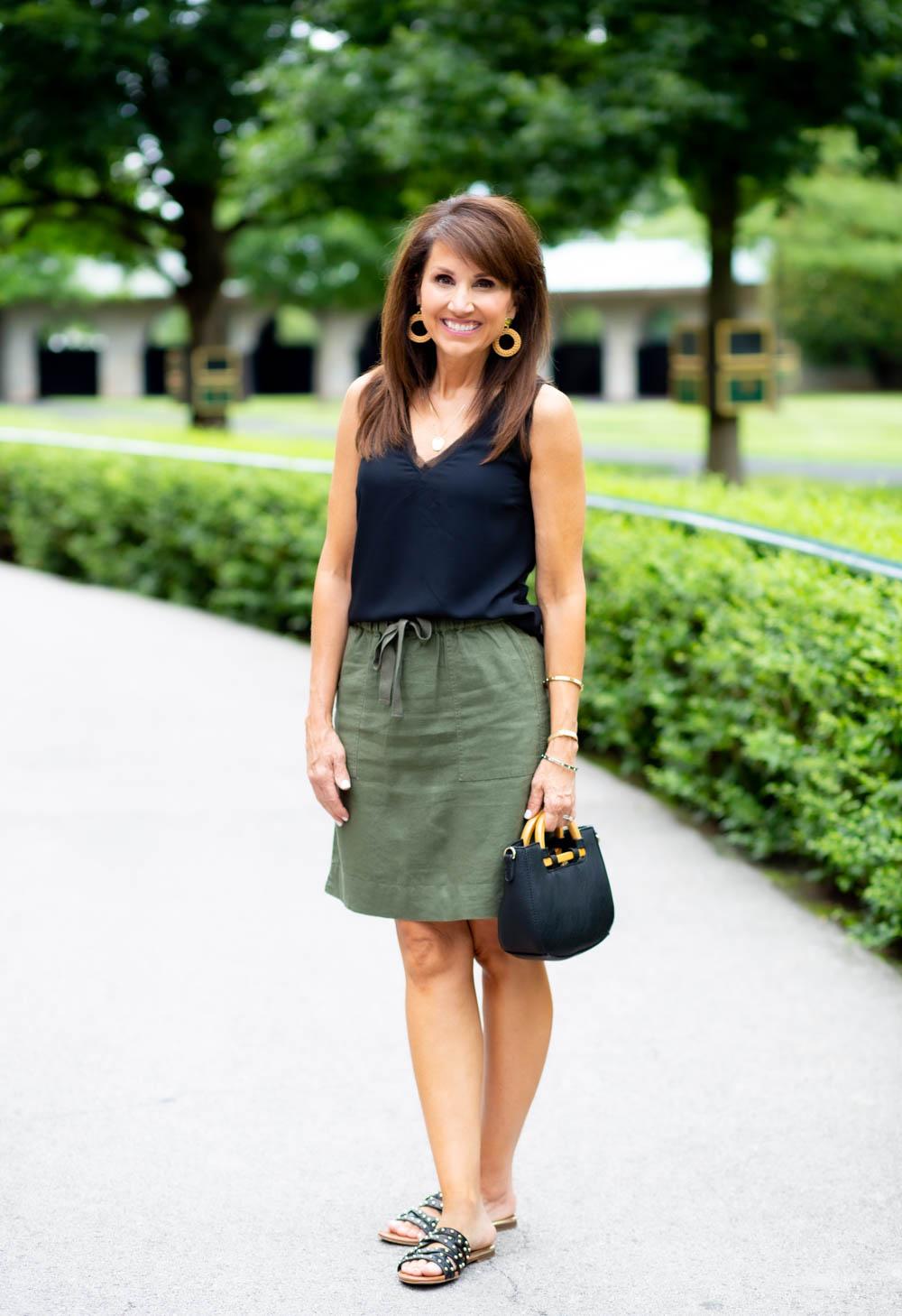 Black Tank and Olive Skirt