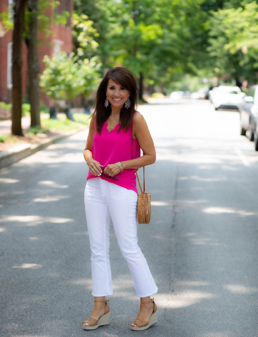 White Crop-Kick Jeans for Summer
