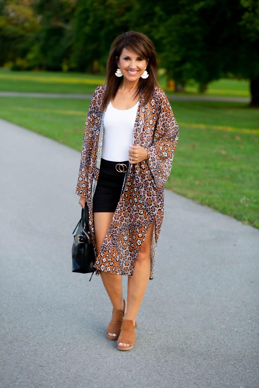 Color Block Leopard Kimono from Sole Society