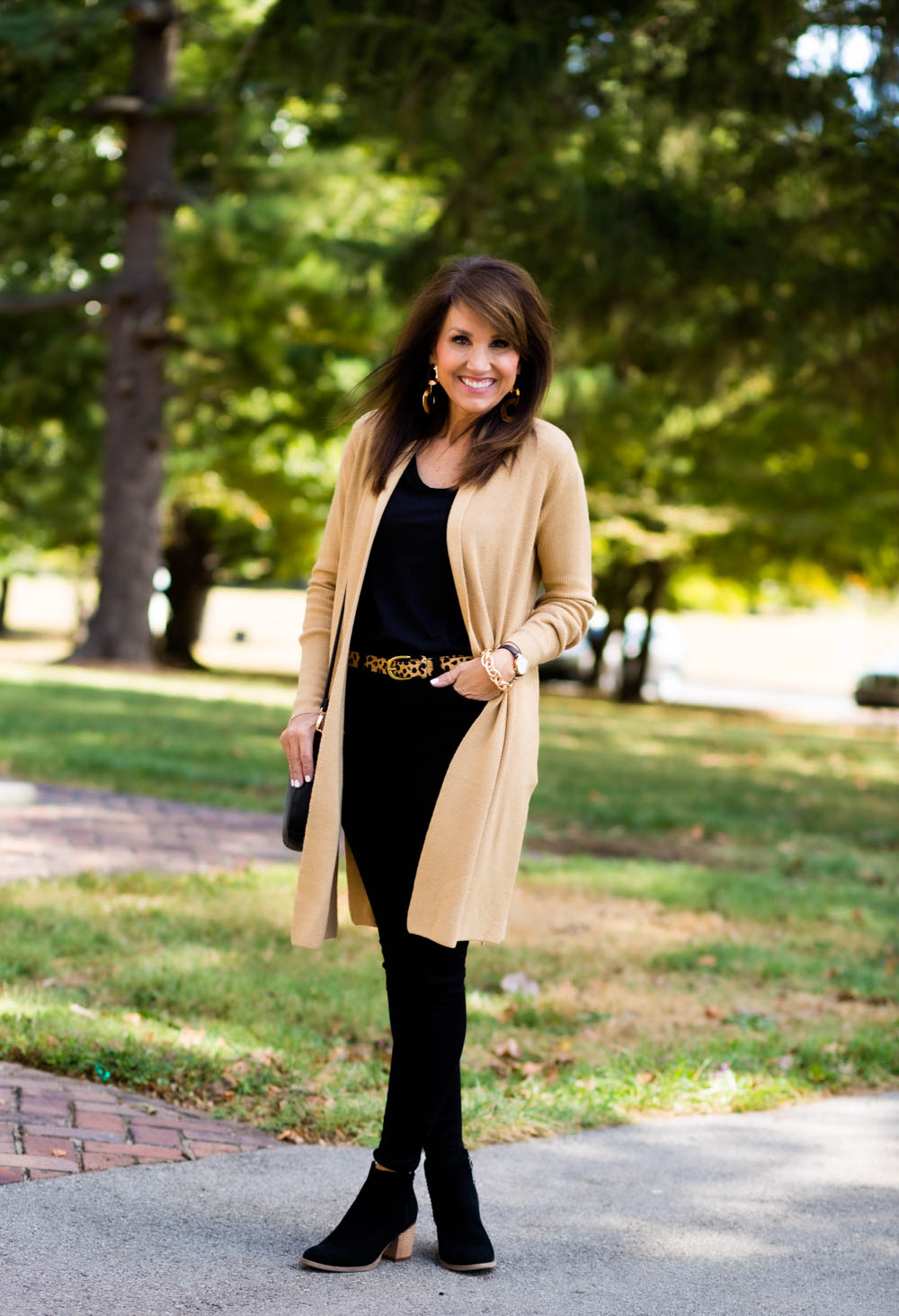 Camel and Black Outfit for Fall