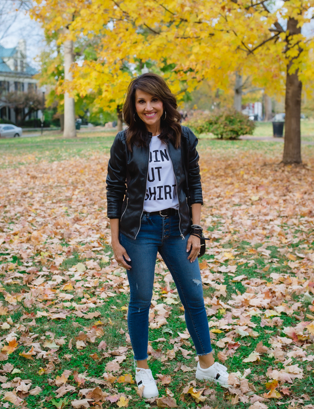 Graphic Tee With Leather Jacket