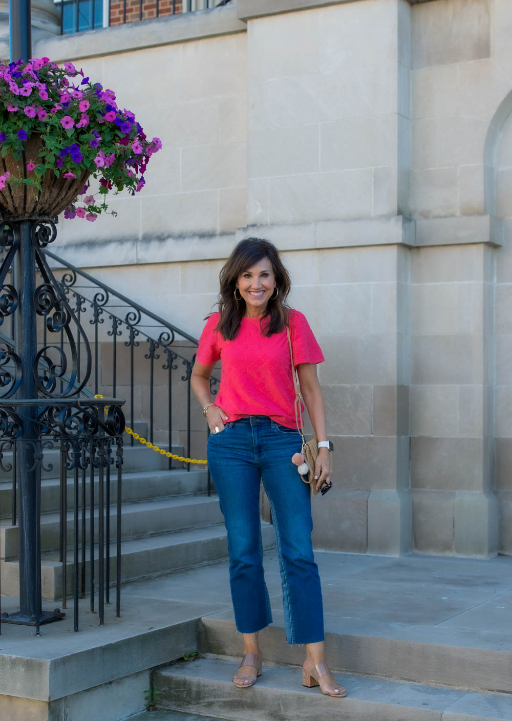 Eyelet Top + Ankle Flare Jeans