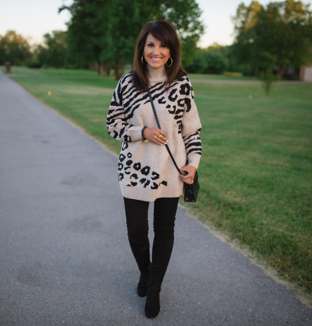 Animal Print Turtleneck Sweater from Walmart: 22 Days of Fall Fashion